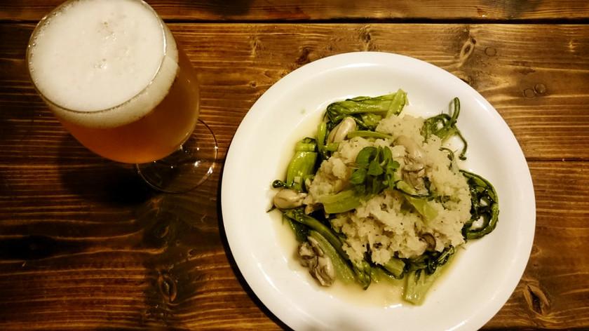 牡蠣とプンタレッラの大根ソース炒め