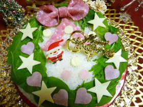 クリスマスリースのデコケーキ寿司♪