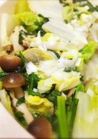 美味!白菜と豚バラ、きのこの生姜ネギ鍋