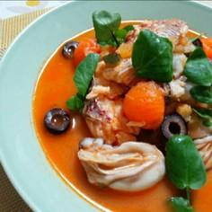 鯛と牡蠣 トマトペーストでアクアパッツァ
