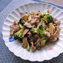 ブロッコリーと豚こま肉の中華炒め