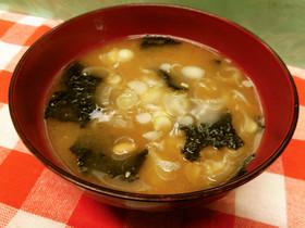 納豆と焼き海苔の味噌汁♪