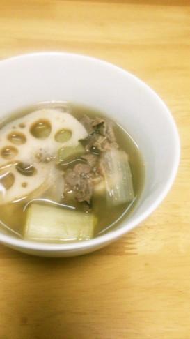 蓮根と長ねぎの牛肉スープ♡
