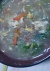 肉味噌とレタスの超簡単!中華風春雨スープ