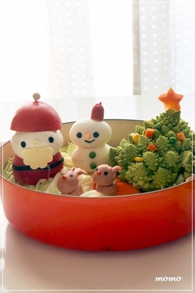 クリスマス サンタさんのキャラ鍋*デコ鍋