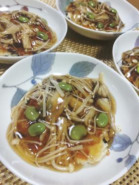 豆腐ステーキの生姜きのこあんかけソース