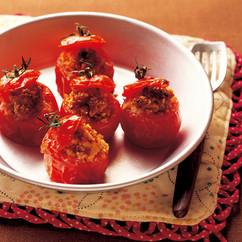 ミディトマトのナッツクラム詰め焼き