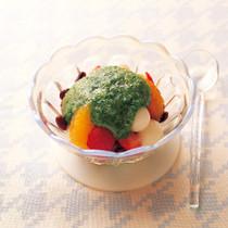 オクラと小豆のフルーツ白玉