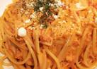 蟹とエノキのトマトクリームパスタ