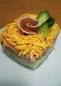 チラシ寿司ケーキ!牛乳パック型で簡単!