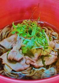 体がぽこぽこ☀豚肉と大葉の生姜力蕎麦♪