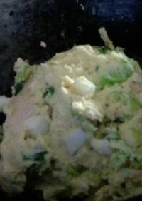 糖質制限☆白菜の葉っぱのおからポテサラ