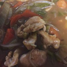 カレー豆乳鍋。鶏胸肉でもがっつり