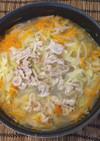 〆は卵スープ♫ 野菜たっぷり豚しゃぶ鍋