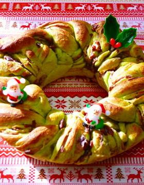 抹茶あん食パンde和風☆クリスマスリース