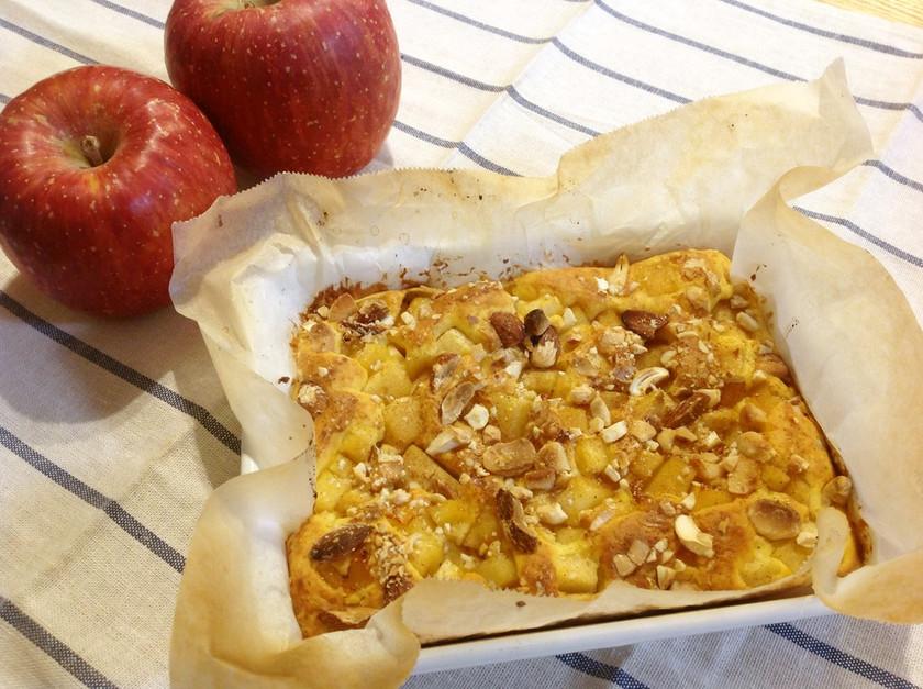 琺瑯バットで作るりんごとナッツのケーキ
