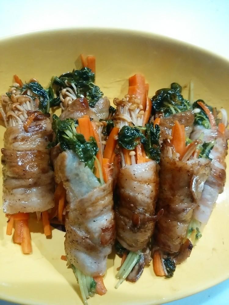 豚バラ肉の野菜巻きバルサミコ焼