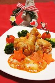 鶏肉とお餅de洋風トマトソース煮込みの写真
