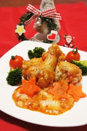 鶏肉とお餅de洋風トマトソース煮込み