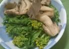 菜の花とキノコの麺つゆ煮