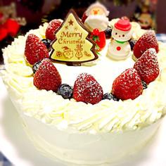 クリスマスケーキ(苺とブルーベリー)