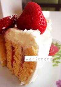 簡単ロールケーキでデコレーションケーキ♡