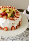 イチゴとキウイのエンゼルケーキ