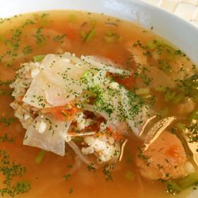【低糖質な食事】鮭缶の雑穀トマトスープ