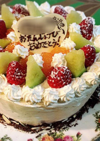 チョコスポンジのデコレーションケーキ