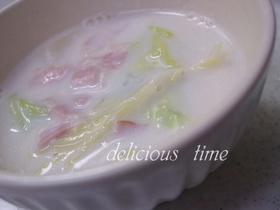 白菜とベーコンのソイミルクスープ♪
