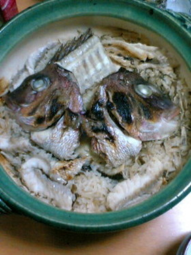 鯛のアラで安くて簡単土鍋鯛飯