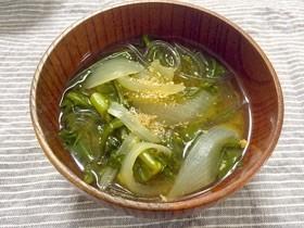 春菊とくずきりの味噌汁❀