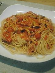 ◎きのこのトマトクリームスパゲティの写真