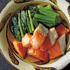 焼き鮭と小松菜のだし浸し