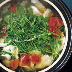 豆苗と鶏ささ身の梅鍋
