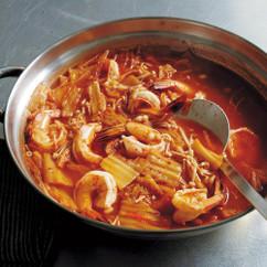 白菜キムチとえびの鍋