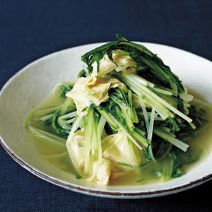 水菜と湯葉のわさび風味煮浸し