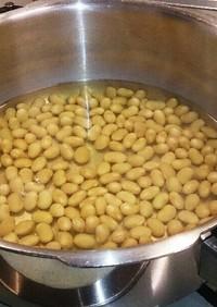 活力なべで乾燥大豆を1時間で戻す!