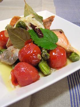 鮭・ミディートマト・空豆の白ワイン蒸焼き