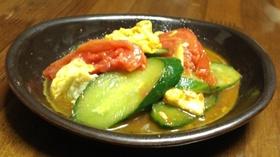 トマト・キュウリ・卵でササッと炒めもの