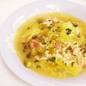 緑野菜とベーコンの玄米スープリゾット♡