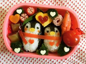 キャラ弁☆仲良しペンギン♡バレンタイン♡