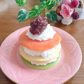 ひな祭りに♡ひしもち風ホットケーキ