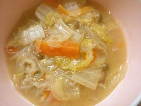 白菜と白滝もやしのスープ!味噌ラーメン風