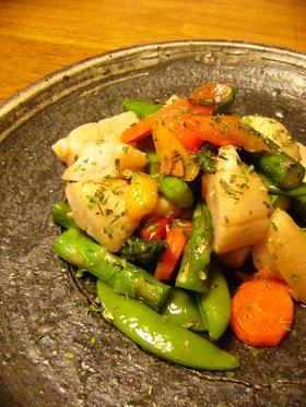 ホタテと春野菜の炒めもの
