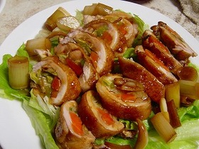 野菜たっぷりチキン巻き 和風味