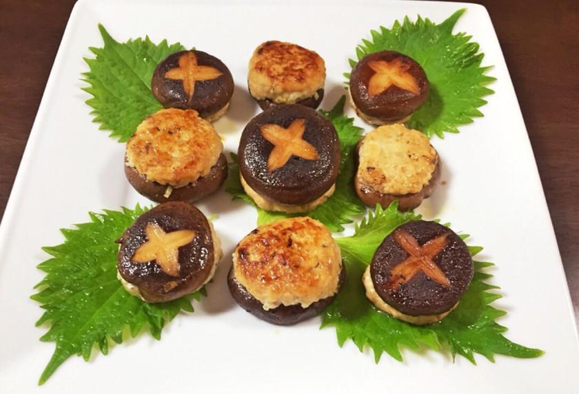 簡単*豆腐と鳥ひき肉の椎茸ハンバーグ*