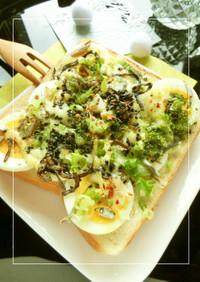 磯香る❀茹で卵*葱*おじゃこのトースト