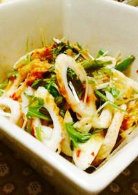 ネギ水菜たっぷりの竹輪豆板醤サラダ