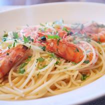 スパゲティー二 車海老のペペロンチーノ レモン風味